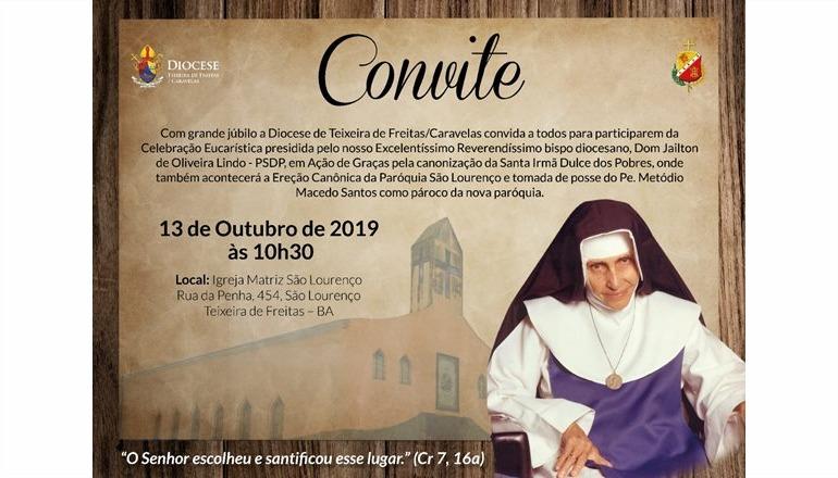 Diocese convida todos para a Missa de Ação de Graças pela canonização de Irmã Dulce; a solenidade ocorrerá na nova Paróquia São Lourenço