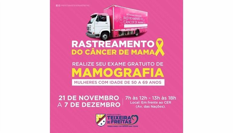Teixeira de Freitas recebe Carreta de rastreamento do câncer de mama no próximo dia 21