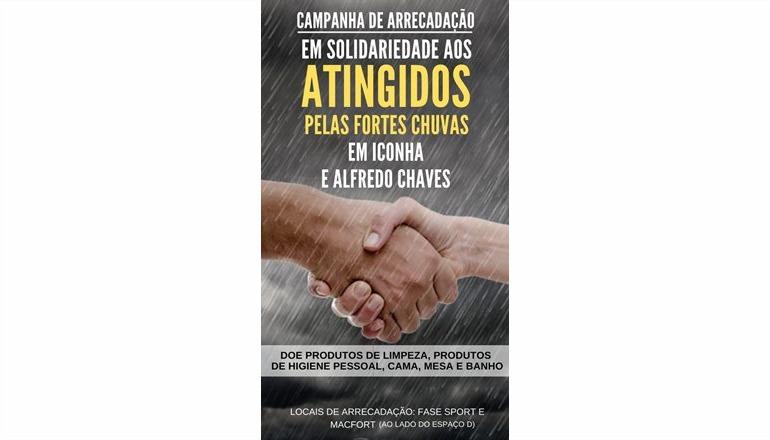 Saiba como colaborar na CAMPANHA DE ARRECADAÇÃO aos atingidos pelas fortes chuvas das cidades de Iconha e Alfredo Chaves-ES
