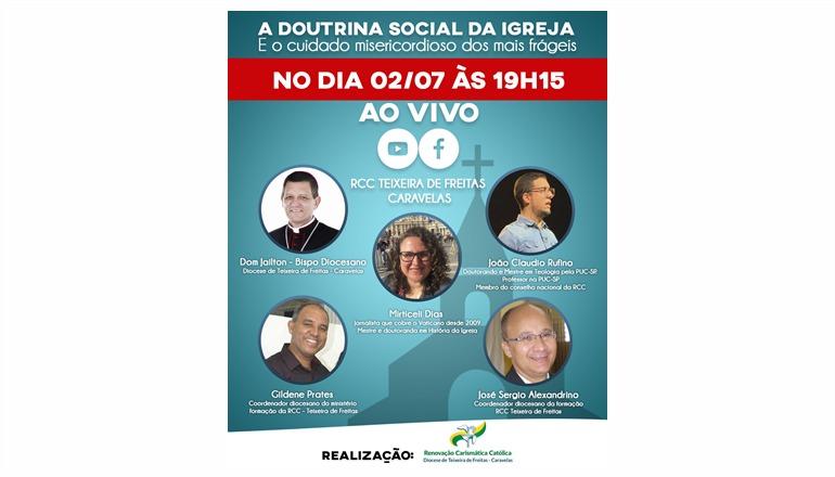 RCC de Teixeira de Freitas promove live dia 02 de julho com Dom Jailton e convidados