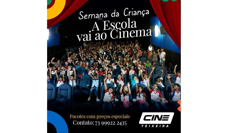 """Cine Teixeira promove """"A escola vai ao cinema""""; comemore o Dia das Crianças"""